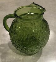 Vintage 3 QT Anchor Hocking Pitcher Textured Glass Green