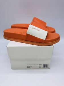 Calvin Klein Men's Mackee Smooth Slide Sandals Orange US 8M / EUR 41