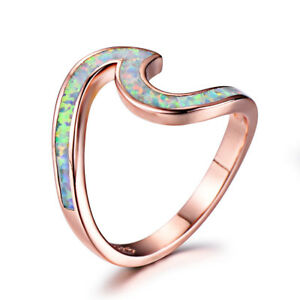 Ocean Sea Island White Fire Opal Rose Gold Plated Silver Band Ring Size 6-10