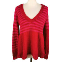 Per Una M&S Size L 14 16 Mohair Blend Loose Knit Pink Striped V Neck NEW BNWT