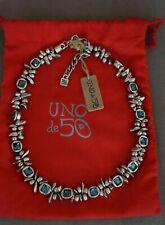 NWT Uno De 50 Silver Blue Elements Crystal LA JOJO YA Short Statement Necklace