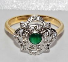 ART DECO 9 CT YELLOW GOLD ON SILVER EMERALD CLUSTER RING ~ size P