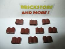 Lego - 10x Brique Brick Modified 1x2 2x1 log 30136 Reddish Brown/Marron/Braun