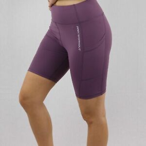 Purple High-Waist Cycling Shorts with Pocket