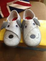 Befado-Kids Grey Puppy Dog Soft Wool Felt Slipper - Non-Slip, Velkro, sze 26/8.5