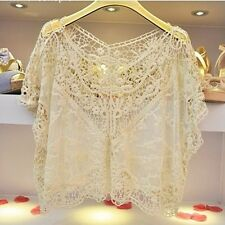 POPULAR Women's Hollow Lace Flower Casual Batwing Sleeve Blouse T-Shirt Tops -B