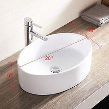 White Porcelain Basin Oval Bathroom Ceramic Vessel Sink Bowl  w/Pop Up Drain