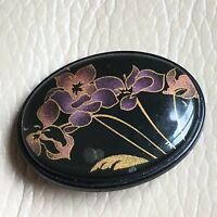 Vintage Lacquered Brooch Retro 1980s Black Mauve Purple Floral Oval Pin Gift