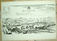 Cham alte Ansicht Merian 1940 Oberpfalz Städteansicht Bayern Druck Tafel