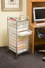 Rolling Storage Cart On Wheels White Drawers Bins Plastic Metal Organizer