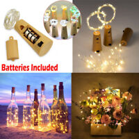 15/20 LED Cork Shaped String Fairy Night Light Wine Bottle Lamp Party W/Battery