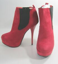 "Red/Black 5.5"" Stiletto High Heel 1.5"" Platform Round Toe Ankle Boot Size 7"