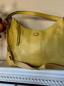 COACH Perforated Yellow Leather Convertible Hobo Shoulder Bag F23241 EUC, $358