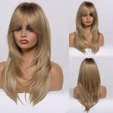 Women Wig Heat Resistant Layered Natural Bangs Synthetic Ombre Brown Blonde