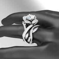 3.85 Carat 14K White Gold Prong Round Cut Diamond Engagement & Wedding Ring Set