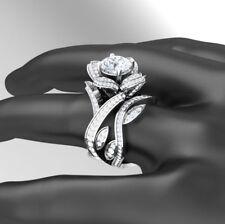 Certified 3.60Ct Round Diamond Engagement Wedding Ring Bridal Set 14K White Gold