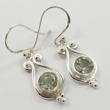 925 Solid Sterling Silver Girls Women's Earrings Natural GREEN AMETHYST Gemstone