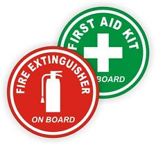 "3"" Fire Extinguisher / First Aid Kit on Board Round Vinyl Decals / Stickers Pair"