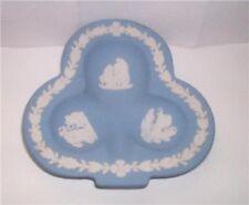 Vtg Wedgwood Jasperware Jasper Periwinkle Blue Lucky Clover Dish Roman Mythology