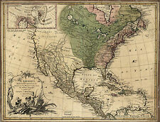 "1757 North America MAP, 20""x16"" Print, Mexico, Canada, antique, United States"