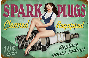 Spark Plugs Cleaned rusted metal sign (pst 1812)
