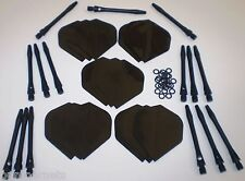 Black Darts Accessory Package 5 Sets Flights Shafts 25 0-rings