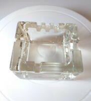 Vintage Rectangular Heavy Thick Glass Ashtray w/ 6 Slots