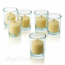 72 Clear Glass Round Votive Candle Holders & Ivory votive candles Burn 10 Hours