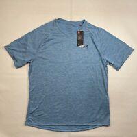 Under Armour Heat Gear Mens Xl Heathered Blue V-Neck Short Sleeve T-shirt Summer