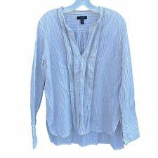 J Crew Blouse Shirt Womens 12 White Striped V Neck Cotton Stretch Long Sleeve