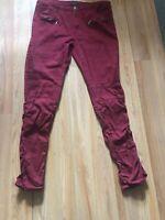 American Bazi Women's Burgundy Stretch Skinny Ruched Cargo Jeans - Size 2XL