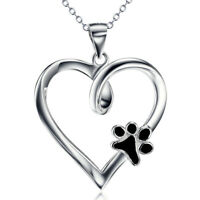 Anhänger Pfote Hundepfote schwarz im Herz Sterling Silber 925 Anhänger mit Kette