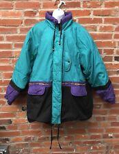 Vintage 80s Puffer Padded Anorak Coat Winter Teal Purple Womens (1794)