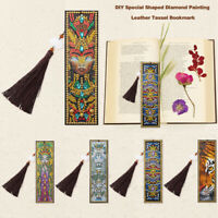 New DIY Special Shaped Diamond Painting Leather Bookmark Tassel Book Marks Gift