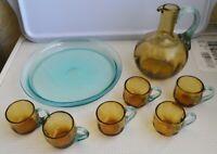 6 petits verres + Pichet + Plateau - ANCIENS - VERRE JAUNE SAND PORTIEUX XIXème