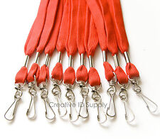 WHOLESALE 100 PCS RED ID NAME BADGE STRAP HOLDER NECK LANYARDS SWIVEL J HOOK
