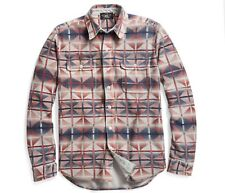 $350 RRL Ralph Lauren Vintage Blanket Printed Thick Cotton Terry Work Shirt-- L