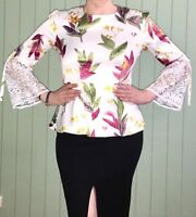 Floral Satin Lace Bell Sleeve White Peplum Top Size 12 New! ~EugeniaM Designs~