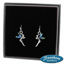 Tinkerbell Fairy Earrings Paua Abalone Shell Silver Fashion Jewellery Gift Boxed