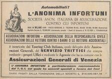 Z1500 Anonima Infortuni - Ass. Generali Venezia - Pubblicità d'epoca - 1927 Ad