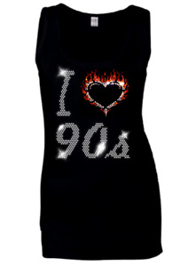 I Love 90s NINETIES hen festival Disco Night Crystal Ladies Vests all sizes 6-18