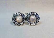 MOTHER of PEARL Cufflinks with Celtic twisted rope pattern edge, Silver finish.