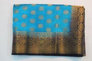 INDIAN TRADITIONAL BANARASI SILK SAREE PEACOCK SARI BRIDAL PARTY WEAR DRESS