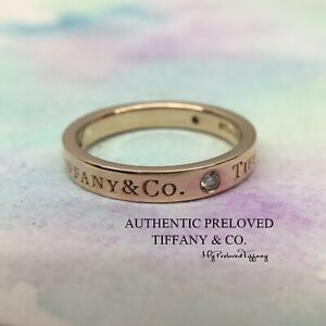 Excellent Authentic Tiffany & Co Logo 3 Diamond 3mm Rose Gold Band Ring RP$1175
