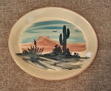 "Vintage Yesteryears Pottery Platter Southwestern Cowboys Cactus EXCL. 11"" X 13"""