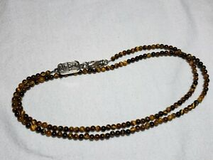 """King Baby Studio Men's Sterling Silver 24"""" Beaded Tiger's Eye Necklace"""