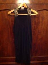 All Saints Levin Black Drape Neck Party Dress Jewel Detail Size 10