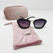 Miu Miu Black Gold Noir Sunglasses Purple Lenses Wide Frames