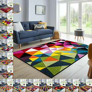 High Quality Living Area Rug Modern Multi Color Funky Bright Large Small Rug UK