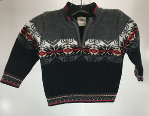 Hanna Andersson Baby Boys Ornate 1/4 Zip Sweater Black Size 70(6-12M) NWT #